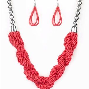 Sea-bead necklace In orange/red